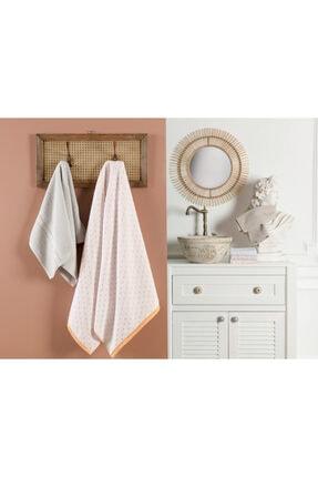 Madame Coco Arber Jakarlı Banyo Havlusu - Sarı / Beyaz - 70x140 Cm