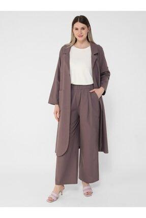 ALİA Kadın Büyük Beden Doğal Kumaşlı Pantolon - Soğuk Mor