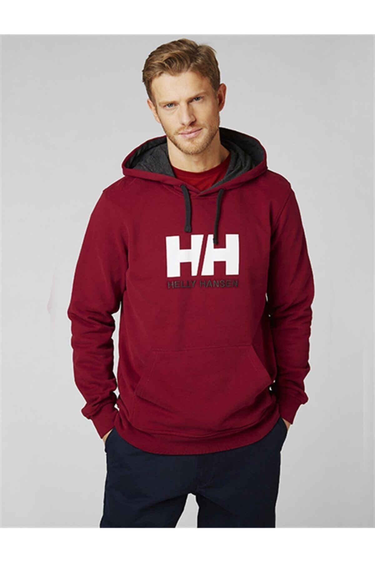 Helly Hansen Erkek Bordo Logo Baskılı Sweatshirt 2
