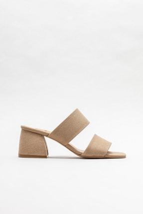 Elle Shoes Kadın Vizon Topuklu Terlik