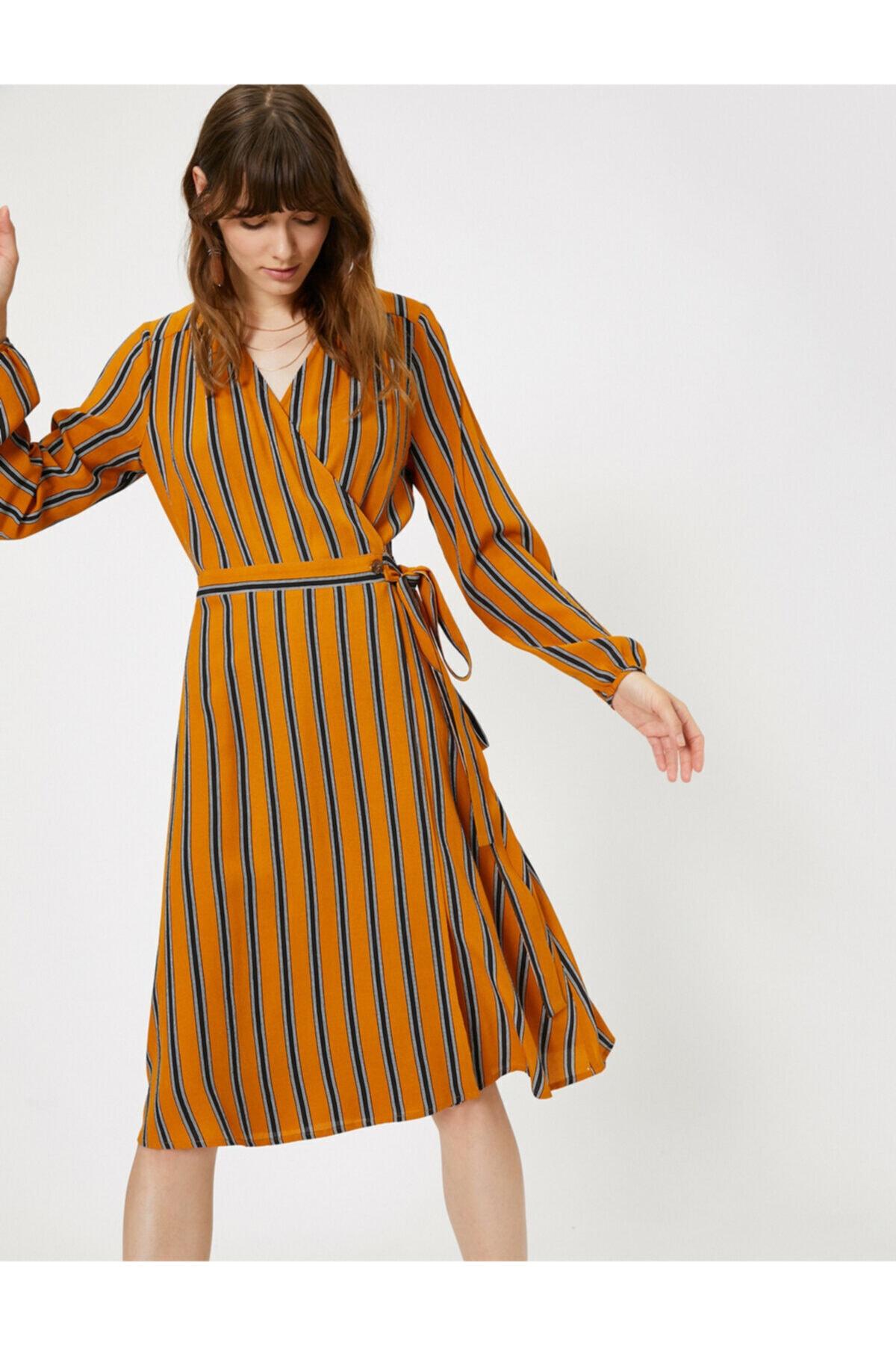 Koton Kadın Sarı Çizgili Elbise 0KAK86834IW 1