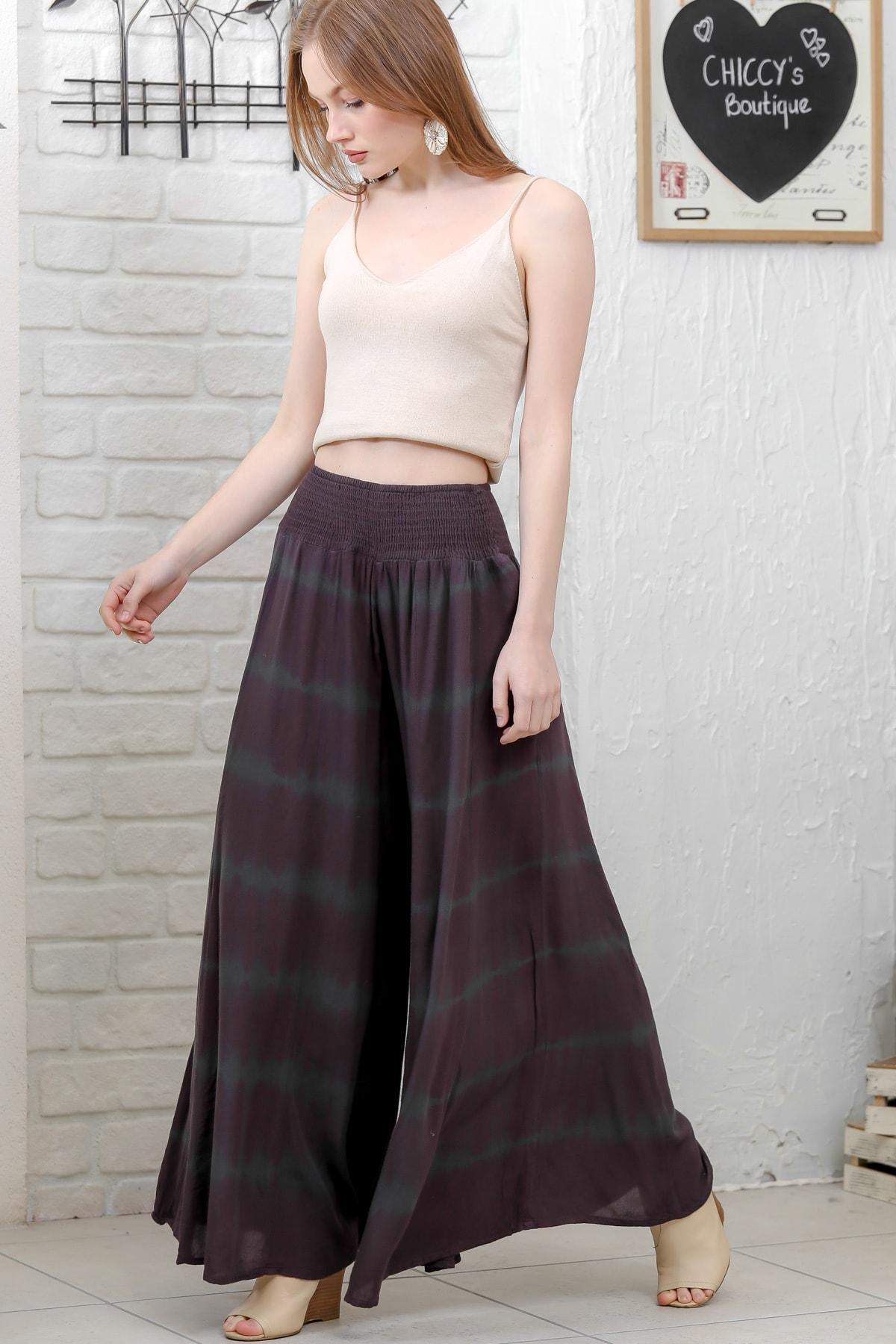 Chiccy Kadın Mürdüm Batik Desenli Beli Lastikli Bol Paçalı Dokuma Pantolon M10060000PN98864