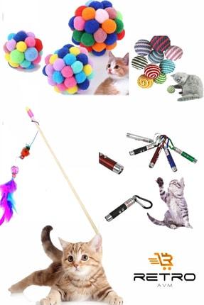 RETROAVM Pet Kedi Oyun Oltası 90 Cm Ve Ip Sarma Topu Ve Lazer Kedi Oyuncağı Ve Xxl Ponponlu Kedi Oyuncağı