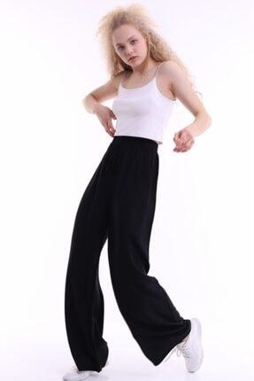 pickone Kadın Siyah Bol Paça Cepsiz Pantolon