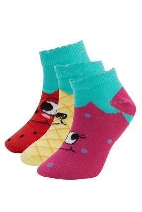 DeFacto Kız Çocuk Desenli Patik Çorap 3'lü