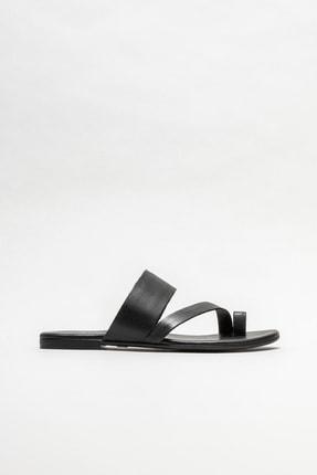 Elle Shoes Kadın Siyah Deri Parmakarası Terlik