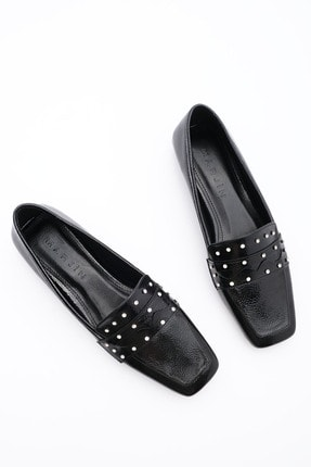 Marjin Kadın Loafer Ayakkabı Sonlasiyah Rugan