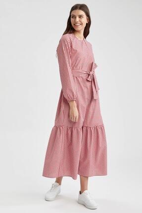 DeFacto Relax Fit Pötikare Desenli Uzun Poplin Elbise