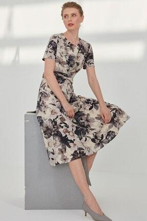 Journey Kadın Siyah Çiçekli Pileli Kemer Burgu Detaylı Elbise
