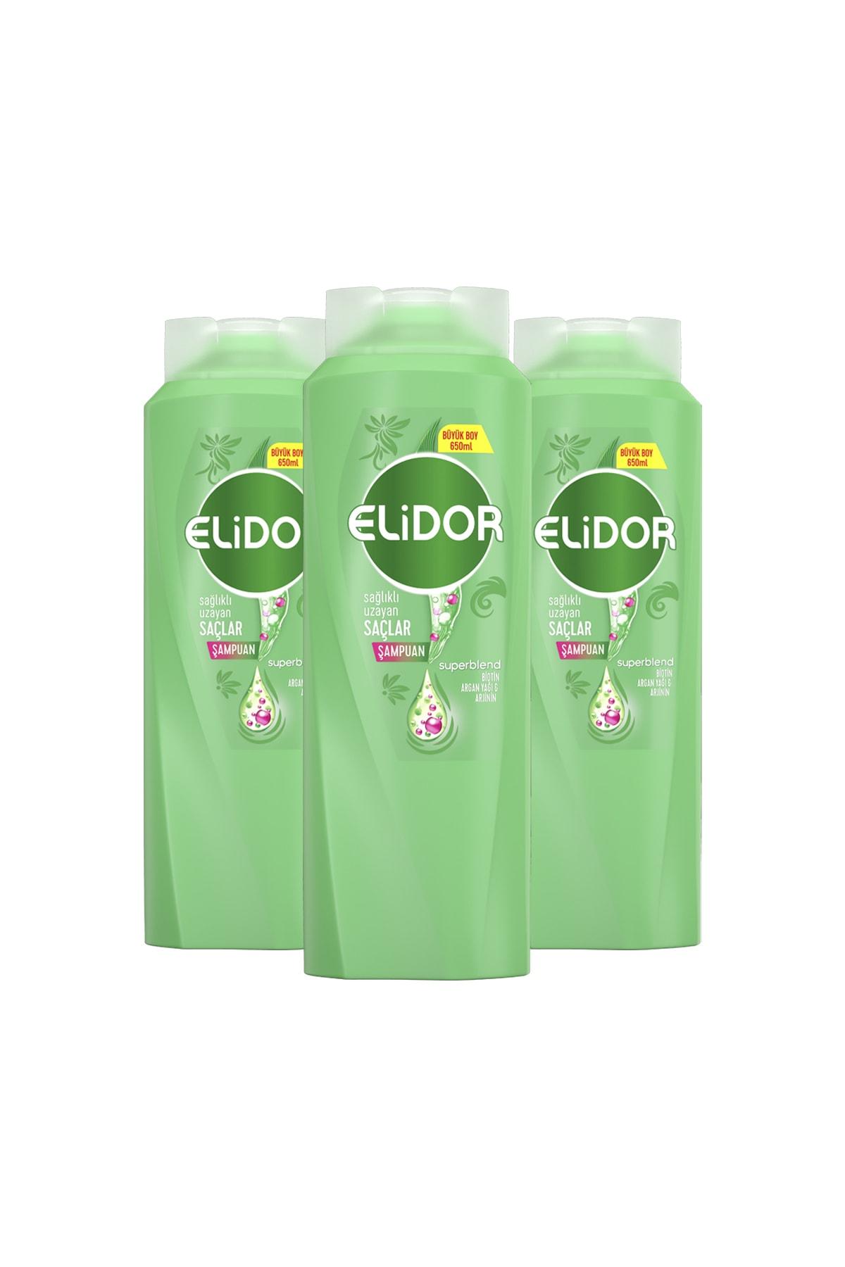 Elidor Sağlıklı Uzayan Saçlar Için Saç Bakım Şampuanı 650 ml X3 1
