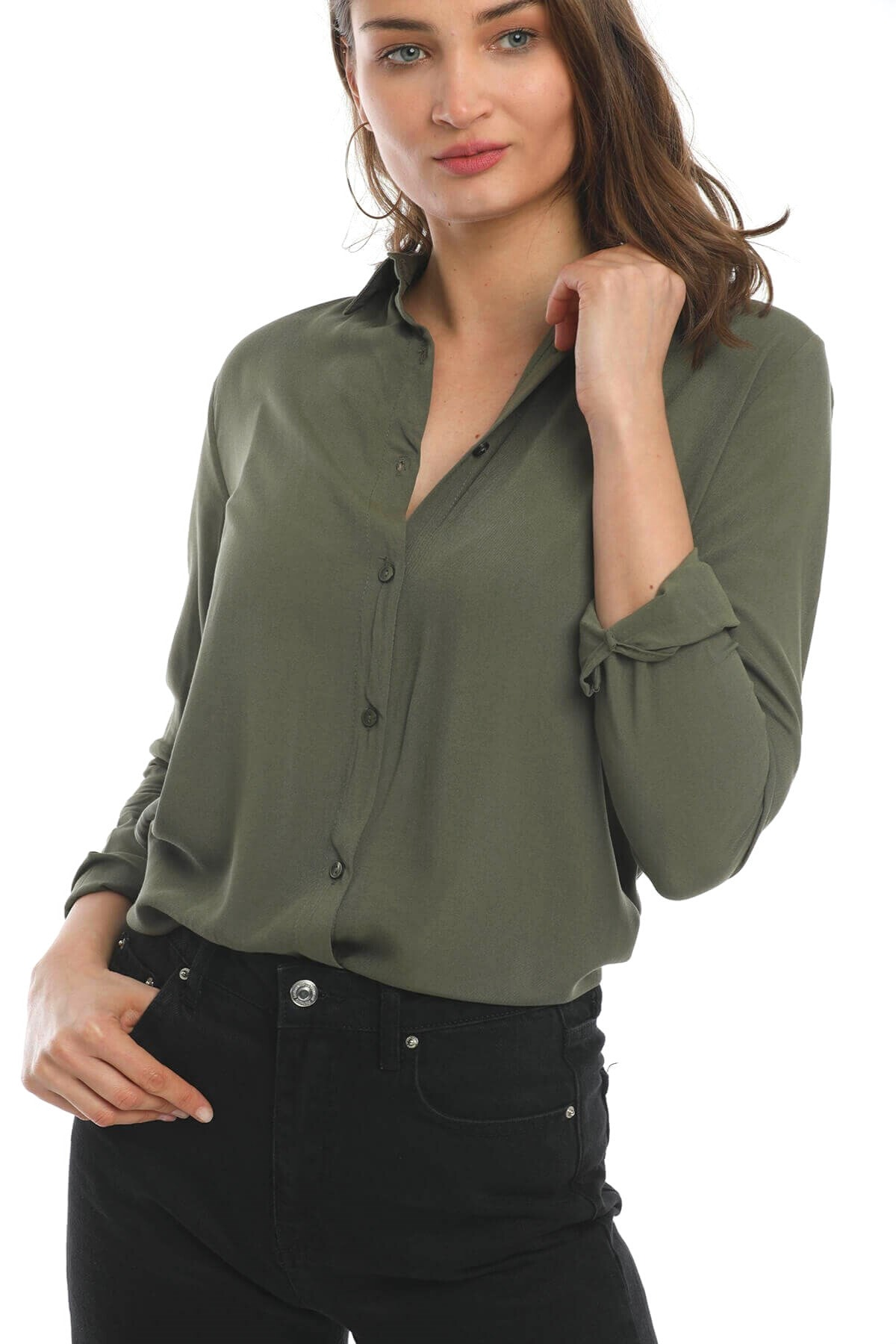Mossta Kadın Basic Gömlek Haki 1