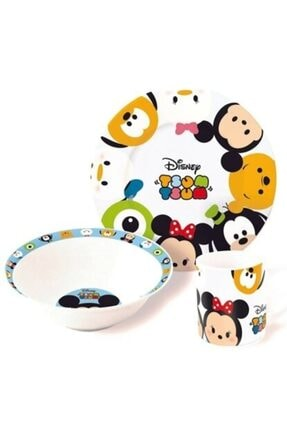 DISNEY Tsum Tsum Lisanslı Çocuk Kahvaltı Yemek Mama Seti Mama Tabağı Yeni