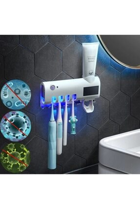 SHOPSET Akıllı Diş Macunu Sıkacagı Ve Uv Sterilizatör Fırça Tutucu