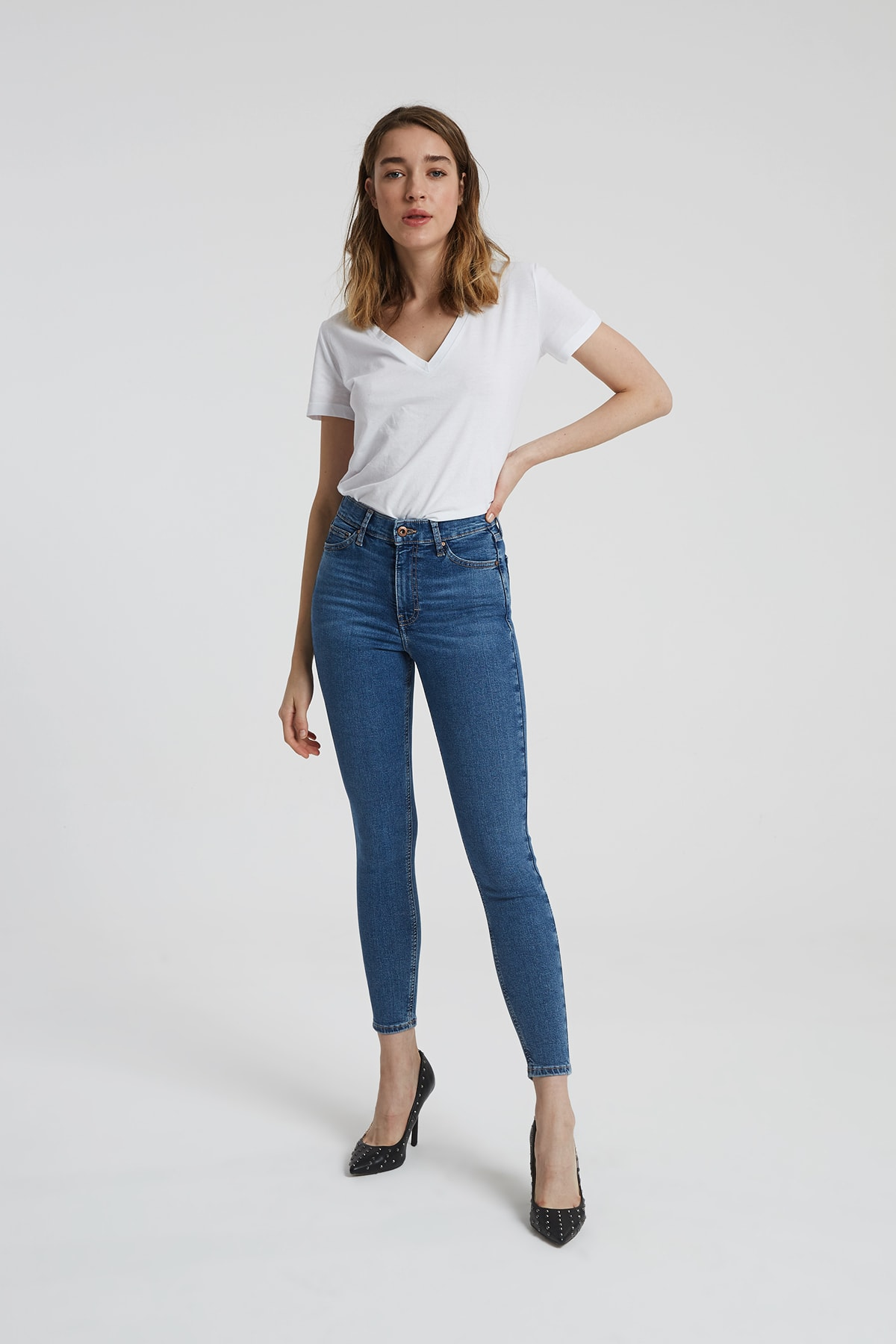 CROSS JEANS Judy Orta Taş Indigo Yüksek Bel Skinny Fit Jean Pantolon 1