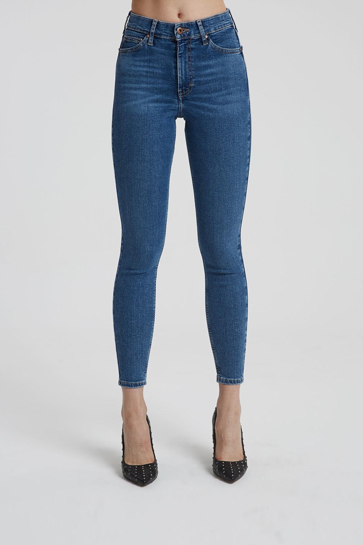 CROSS JEANS Judy Orta Taş Indigo Yüksek Bel Skinny Fit Jean Pantolon 2
