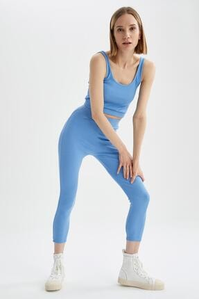 DeFacto Kadın  Mavi Slim Fit Yüksek Bel Tayt