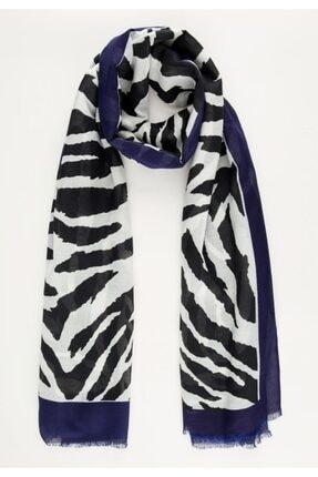 DeFacto Kadın Mavi Zebra Desenli Şal