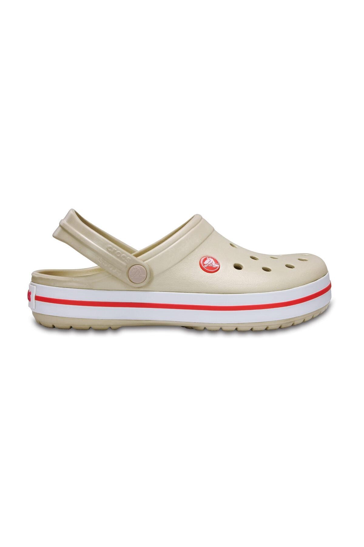 Crocs Bej Unisex Crocband Kenarı Kırmızı Beyaz Çizgili Terlik 1