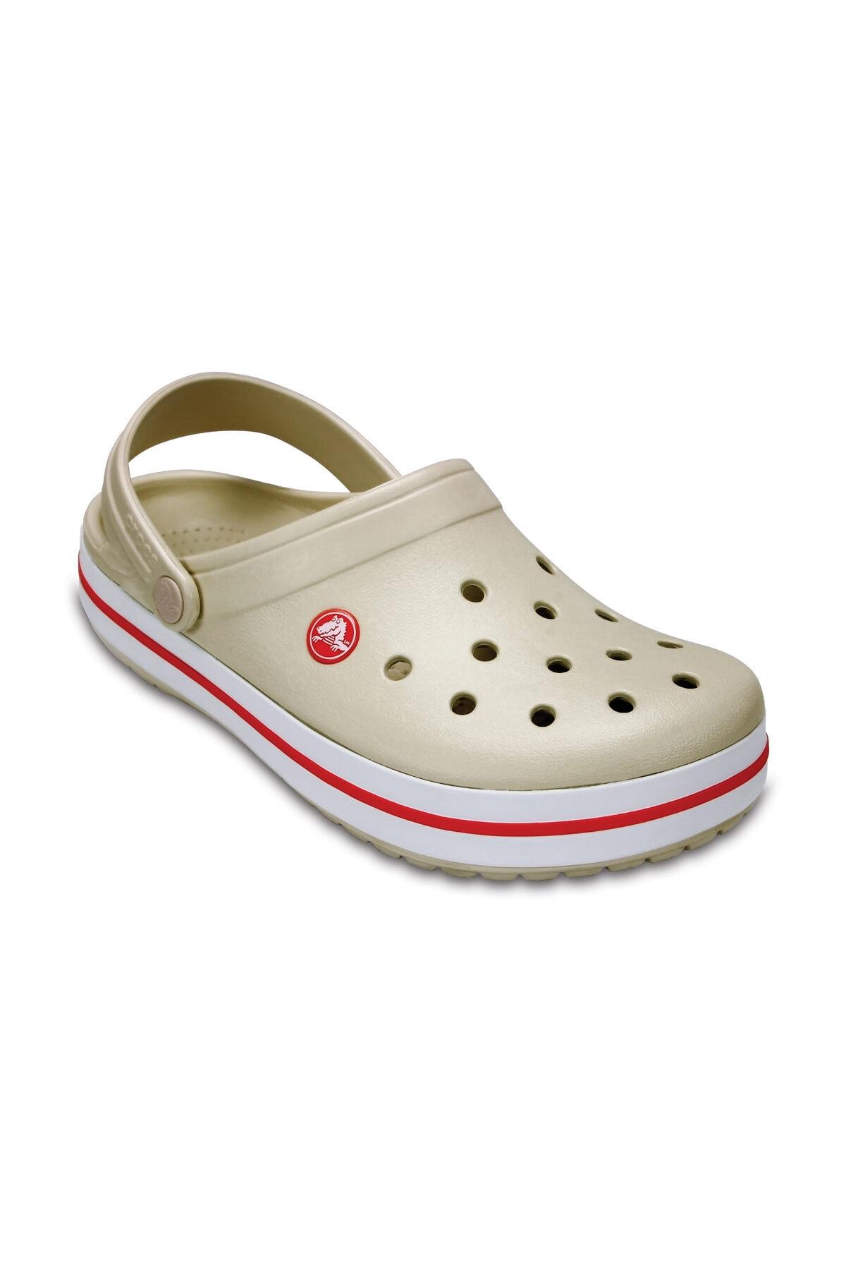Crocs Bej Unisex Crocband Kenarı Kırmızı Beyaz Çizgili Terlik 2