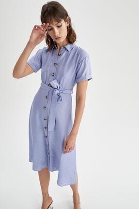 DeFacto Kadın Mavi Gömlek Yaka Midi Elbise