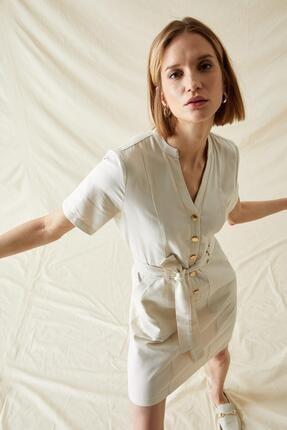 DeFacto Kadın  Cep Detaylı Kısa Kollu Kuşaklı Gömlek Elbise