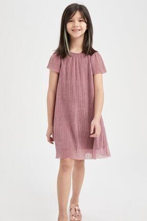 DeFacto Kız Çocuk Pembe Parlak Piliseli Kısa Kol Elbise