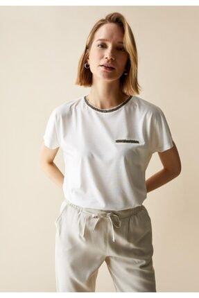 DeFacto Kadın Ekru Sim Detaylı Yaka Relax Fit Tişört