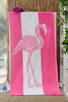 eumenia Flamingo 70x155cm Baskılı Pembe Plaj Havlusu