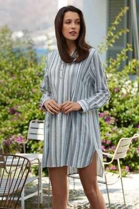 Penyemood Kadın Beyaz Mavi Düğme Detaylı Uzun Kollu Elbise PM8510-GRI-XL