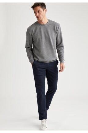 DeFacto Erkek Lacivert Regular Fit Basic Pamuklu Chino Pantolon