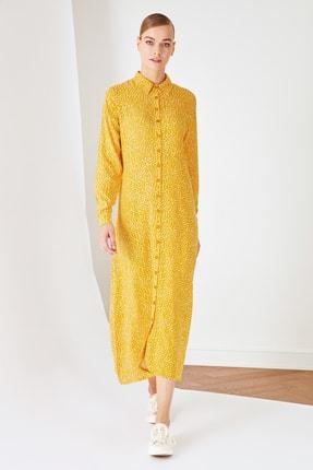 Trendyol Modest Sarı Gömlek Yaka Viskon Elbise TCTSS21EL3445
