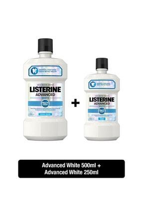 Listerine Advanced White Hafif Tat Alkolsüz Ağız Bakım Suyu 500 ml + 250 ml  Set