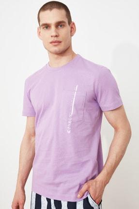 TRENDYOL MAN Lila Erkek Regular Fit Kısa Kollu Baskılı T-Shirt TMNSS21TS3100