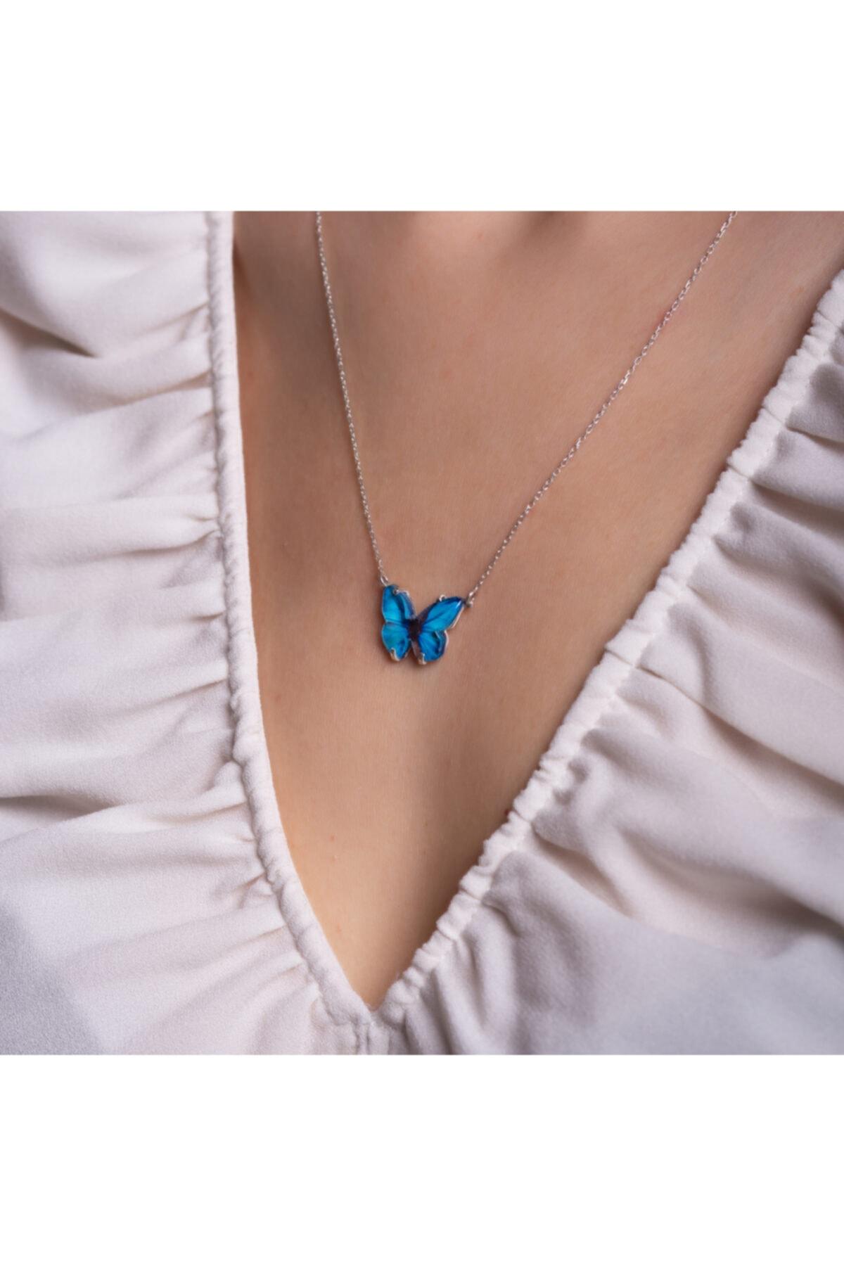 LAVERANZA 925 Ayar Gümüş Mavi Renk Kelebek Kolye 2
