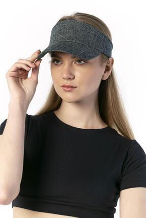 Y-London 14046 Denim Desenli Üstü Açık Lacivert Vizör Şapka