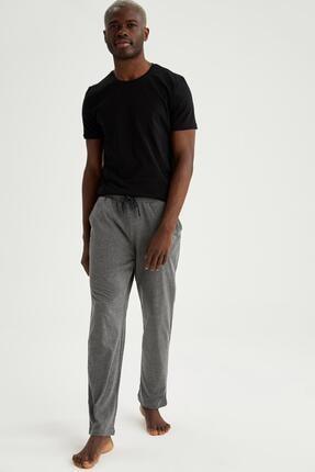 DeFacto Erkek Siyah Regular Fit Pamuklu Pijama Takım