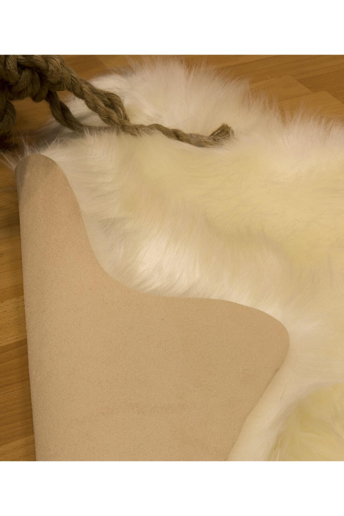 Mecra Home Koyun Postu Yıkanabilir Kaydırmaz Taban Beyaz Post Halı 2