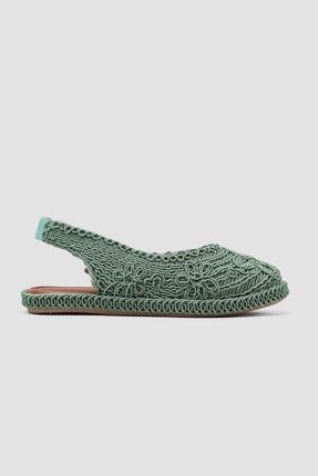 Limoya Yeşil Örgü Detaylı Triko Sandalet