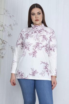 Şans Kadın Kemik Dik Yakalı Desenli Bluz 65N23710