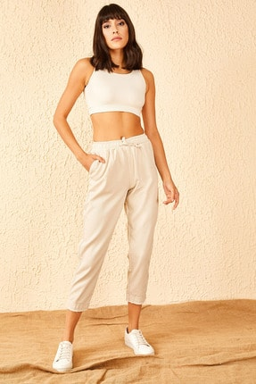 Bianco Lucci Kadın Bej Beli Lastikli Paça Desenli Keten Pantolon 10951014