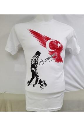 NACAR STORE Unısex Beyaz Mustafa Kemal Atatürk Baskılı Çocuk Tişört
