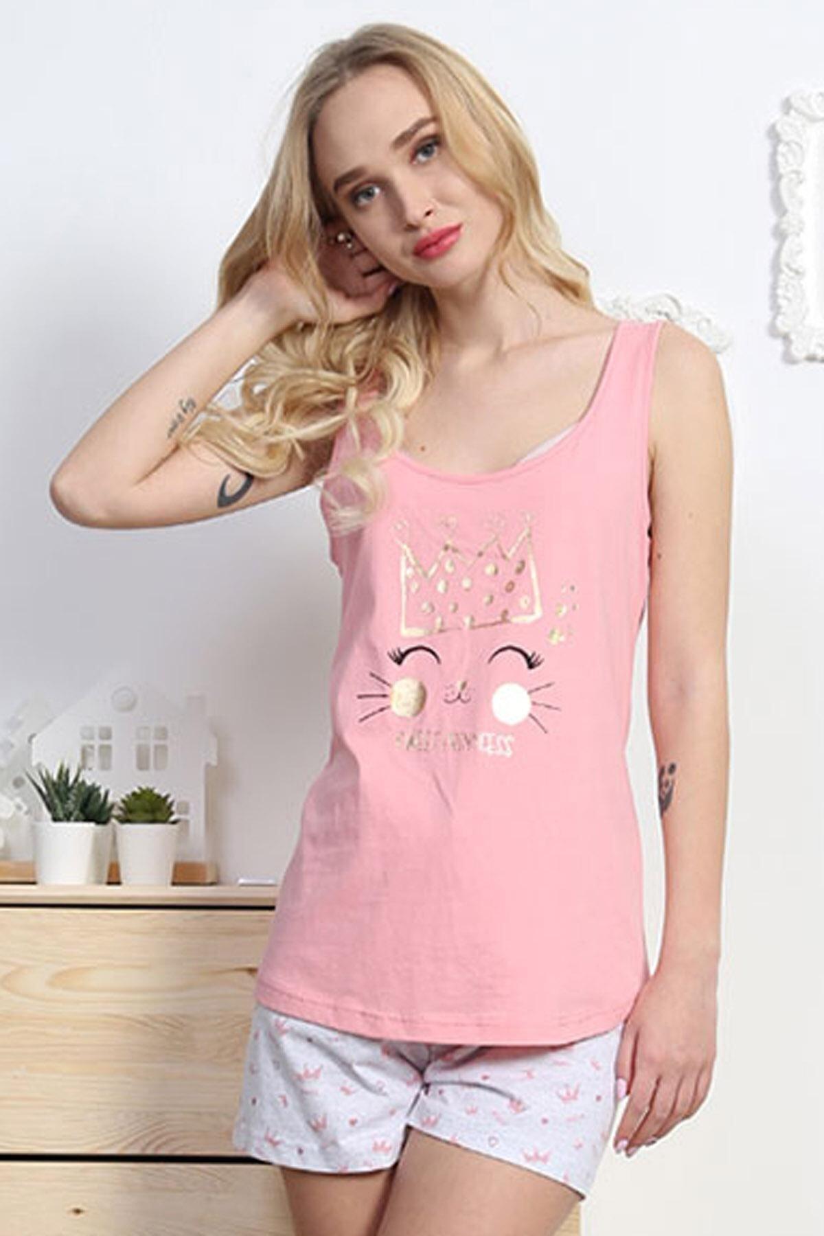 Pattaya Kadın Kolsuz Tişört Şort Pijama Takımı Y20s137-8100672696 2
