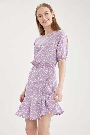 DeFacto Kadın Mor Çiçek Desenli Beli Lastikli Volanlı Elbise