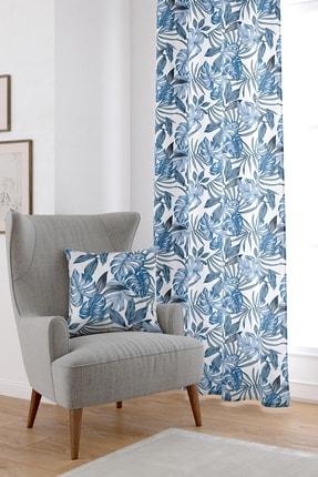 Cango Home Mavi Çiçekli Dijital Baskılı Perde Cgh020-pr