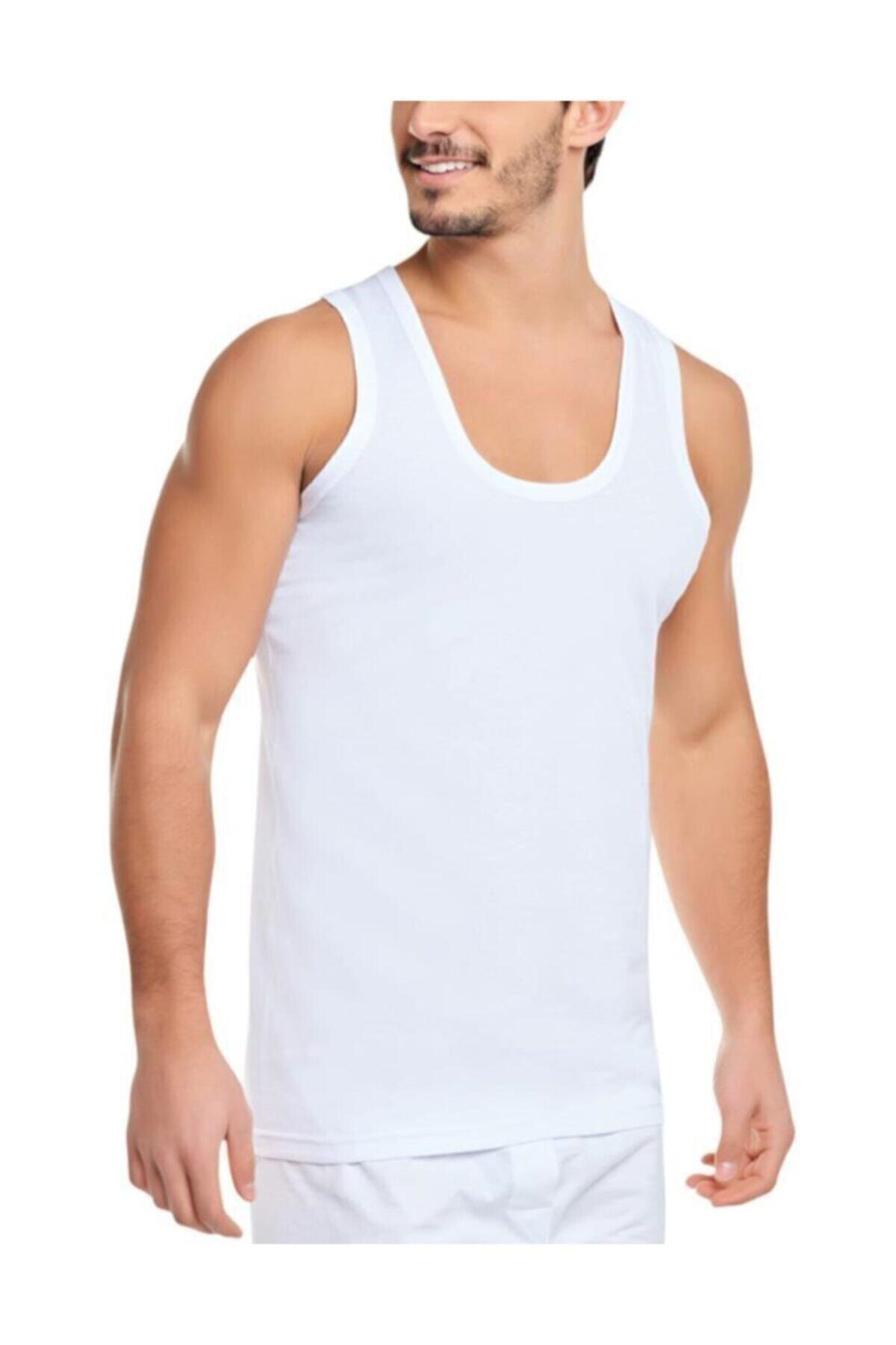 Seher Yıldızı Erkek Beyaz 6'lı Paket Pamuklu Klasik Penye Atlet 0001 1