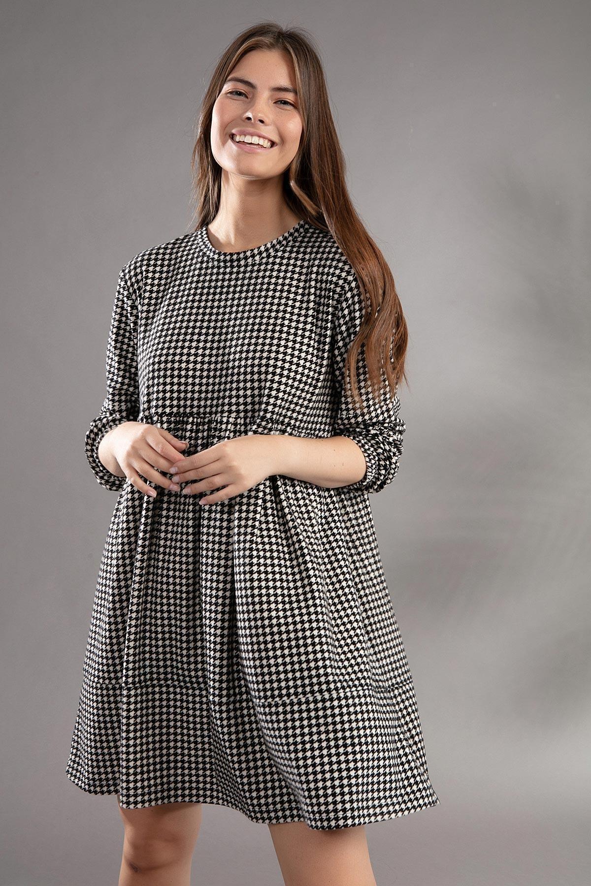 Pattaya Kadın Kazayağı Desenli Günlük Elbise Y20w110-2113 1
