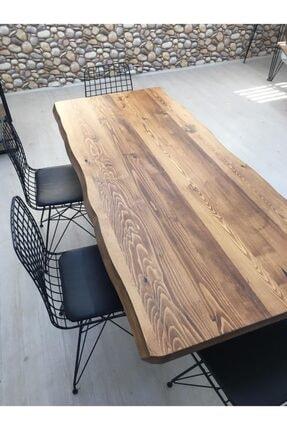 Sağıroğlu Ahşap 6 Kişilik Ahşap Kütük Yemek Masası Altılı Sandalye Takımı 80x160