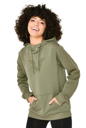 bilcee Kadın Yeşil Kapüşonlu Sweatshirt
