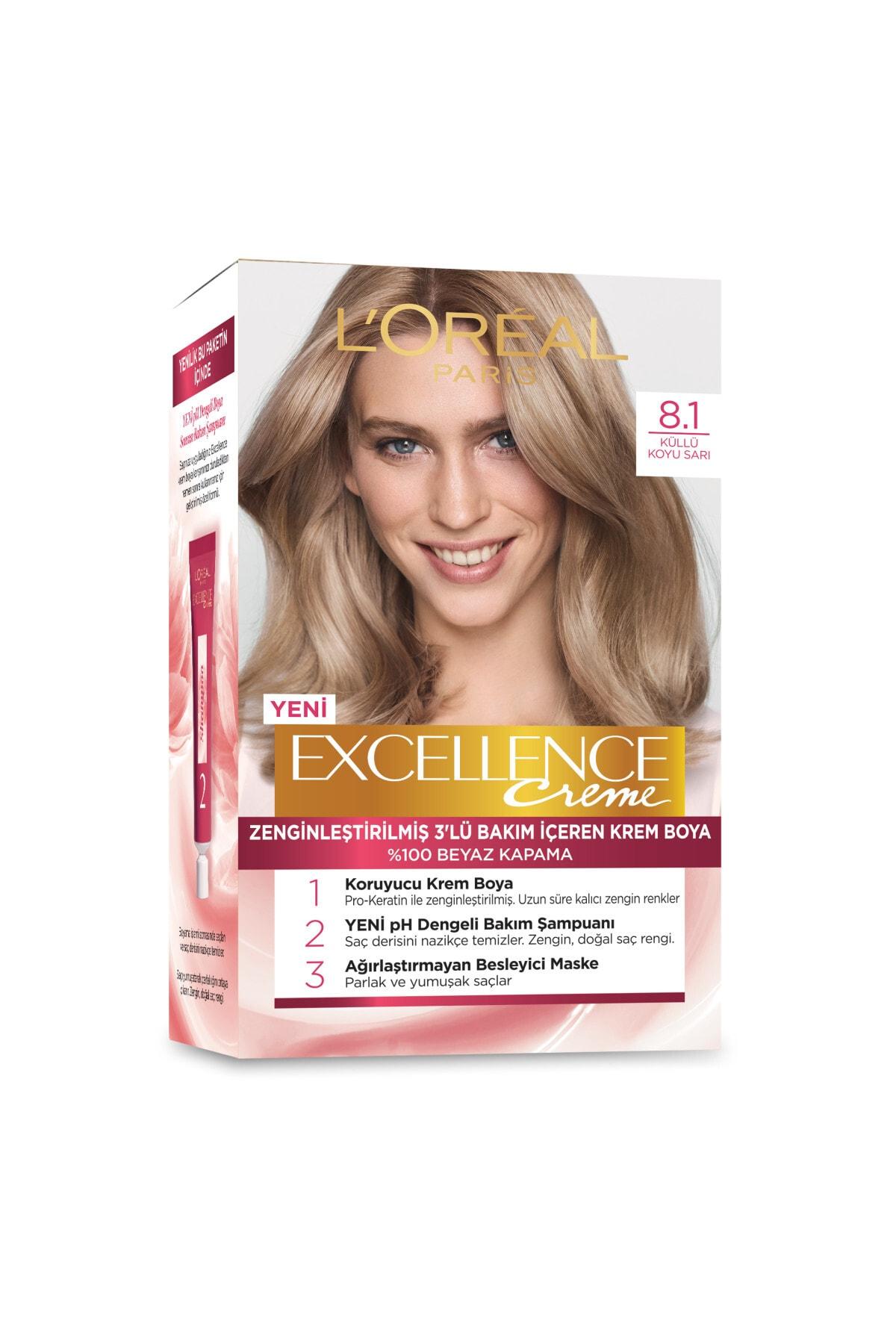L'Oreal Paris Excellence Creme Saç Boyası 8.1 Koyu Sarı Küllü 2