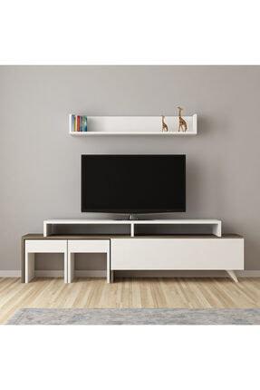 ARNETTİ Tango Tv Ünitesi Yaşam Odası, Salon, Ve Oturma Odası, Tv Sehpası Beyaz-ceviz